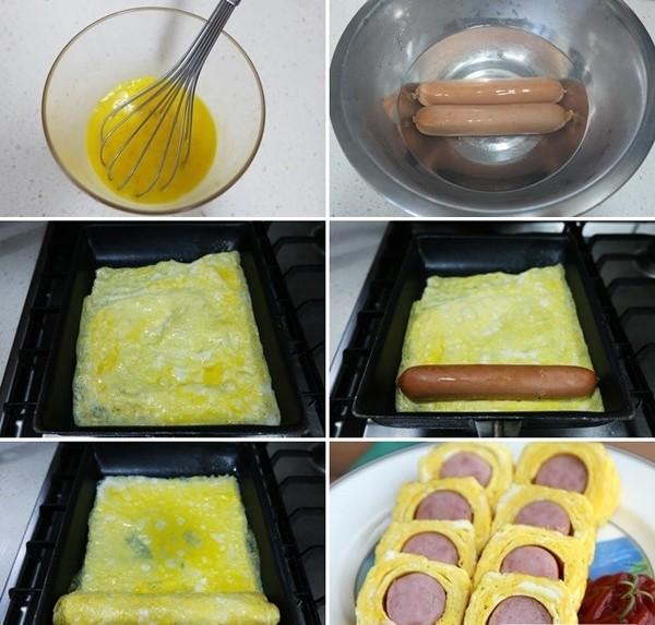 Cách làm trứng cuộn xúc xích đơn giản
