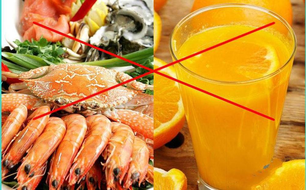 Không nên ăn hải sản cũng VITAMIN C